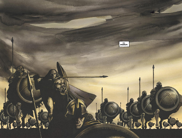 In '300' (1998) #1, King Leonidas and the 300 Spartans march towards Thermopylae.