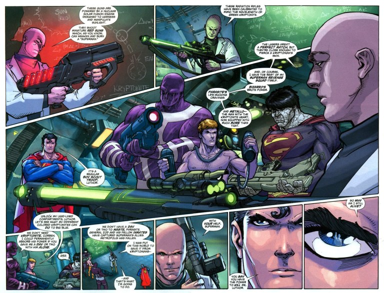 """In 'Action Comics Annual' (2008) #11, titled """"Last Son"""", Lex Luthor states an intelligence feat. During the meeting, Lex Luthor shows he invented radiation rifles that mimic green kryptonite radiation."""