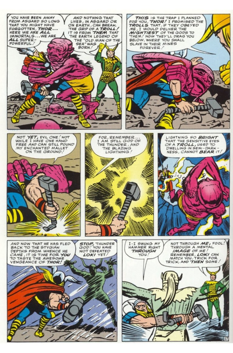In 'Avengers' (1963) #1, Thor defeats a rock troll.