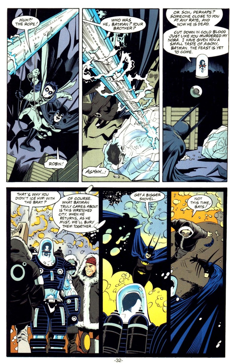 In 'Batman: Mister Freeze' (1997) #1, Mister Freeze freezes Robin with his Cold Gun.