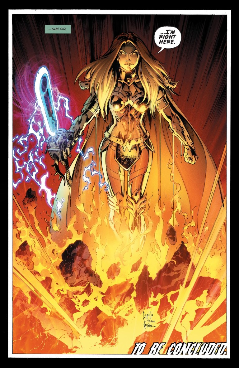 In 'Dark Nights: Death Metal' (2021) #6, Wonder Woman emerging from the World Forge becomes Truth Incarnate.