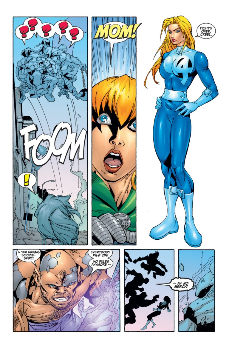 In 'Fantastic Four' (1999) #22, Invisible Woman beats She-Hulk, Thing, Titania and Absorbing Man with a force field construct.