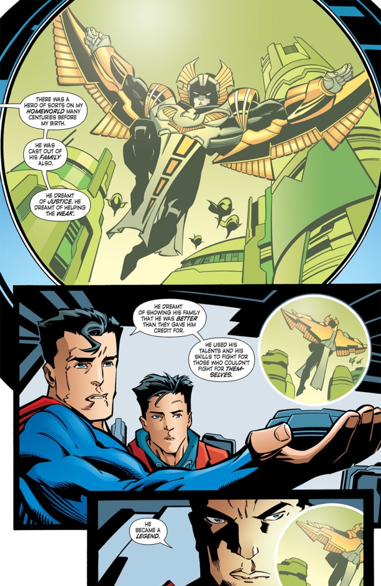 In 'Nightwing' (2005) #102, Superman tells Dick Grayson about the story of the Kryptonian hero named Nightwing.