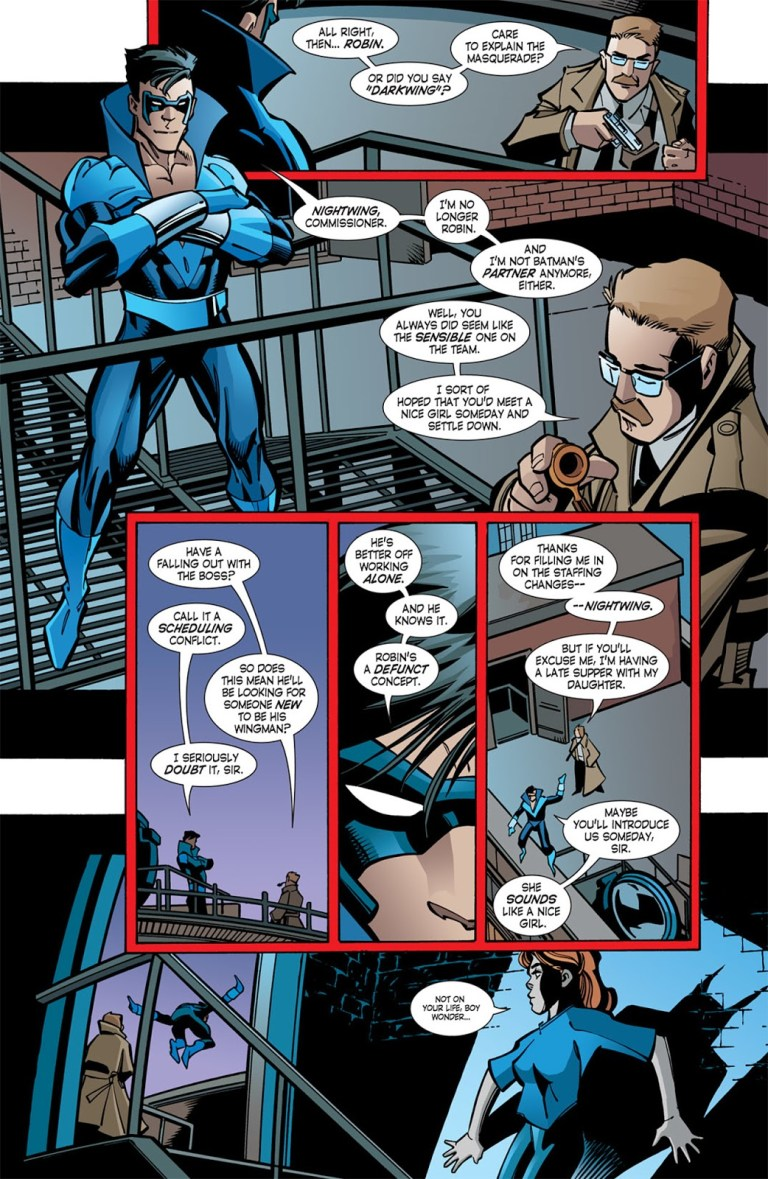 In 'Nightwing (2005) #103, Robin announces his new Nightwing code name to Commissioner Gordon.