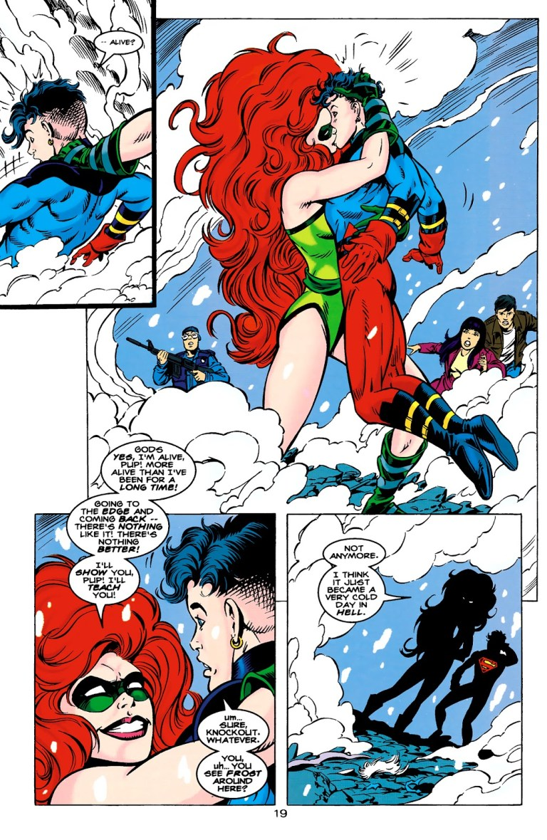 In 'Superboy' (1995) #22, Knockout thrilled by the fight, kisses Superboy.
