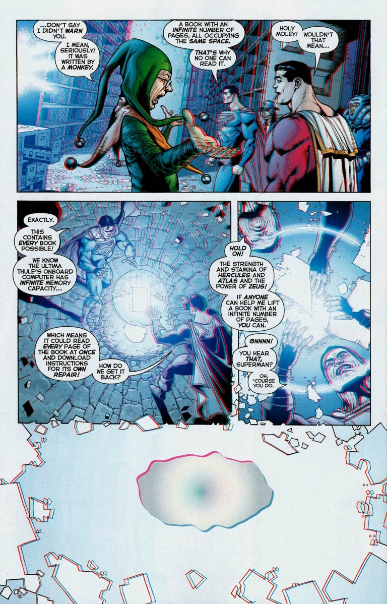 In 'Superman Beyond' (2008) #1, Superman and Captain Marvel lift the Book of Limbo, a book with an infinite number of pages.