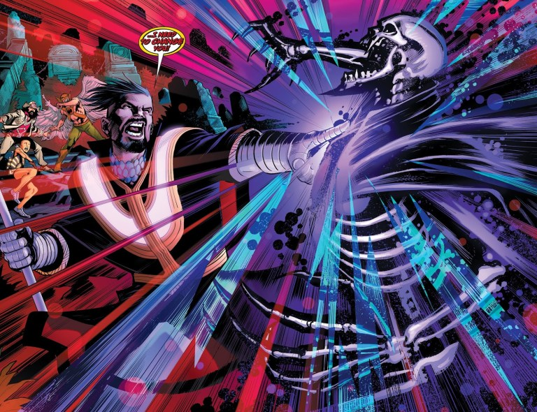 In 'The Unexpected' (2019) #8, Neon the Unknown alters Mandrakk's physiology with the Fires of Creation to only feed on the Dark multiverse.