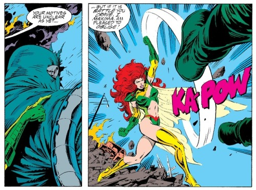 In 'Adventures of Superman' (1992) #497, Maxima battles Doomsday.