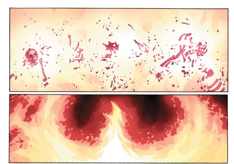 In 'Avengers vs X-Men' (2012) #6, Scarlet Witch has a vision of the future caused by the Phoenix Five.
