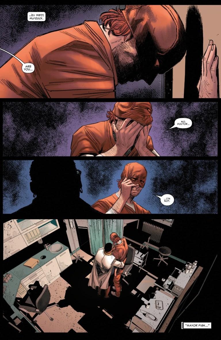 In 'Daredevil' (2021) #28, Daredevil feels guilty for prosecuting Neil Rivate in prison.