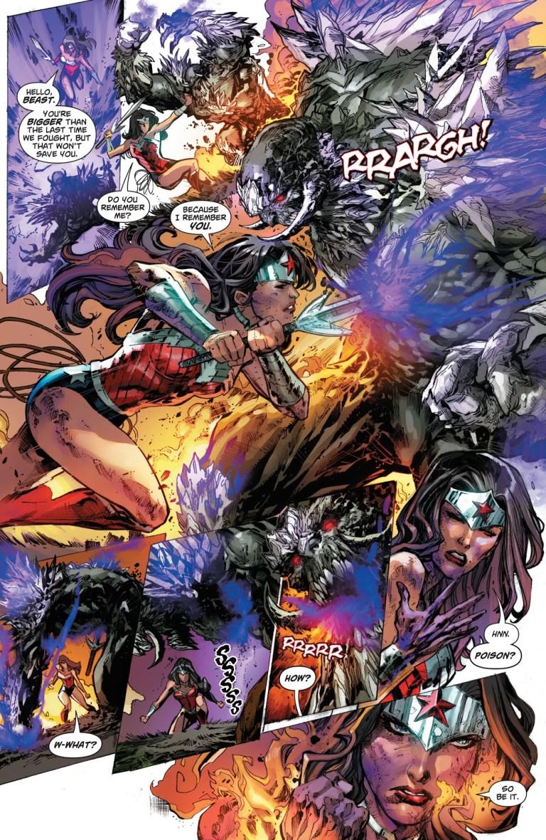 In 'Superman: Doomed' (2014) #1, Wonder Woman rumbles against Doomsday.