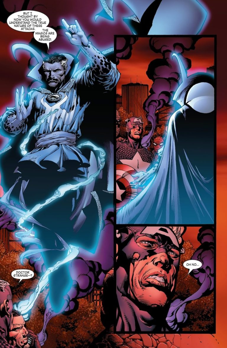 In 'Avengers' (2004) #502, Doctor Strange reveals the true nature of the attacks.