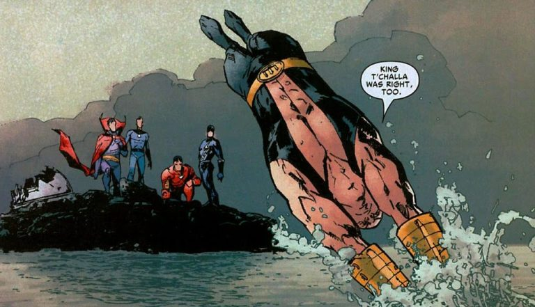 In 'New Avengers: Illuminati' (2006) #1, King Namor retreats to the waters after opposing the Illuminati's Hulk decision.