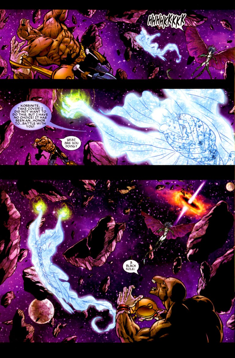 In 'Stormbreaker: The Saga of Beta-Ray Bill' (2005) #4, Stardust opens a portal to a black hole.