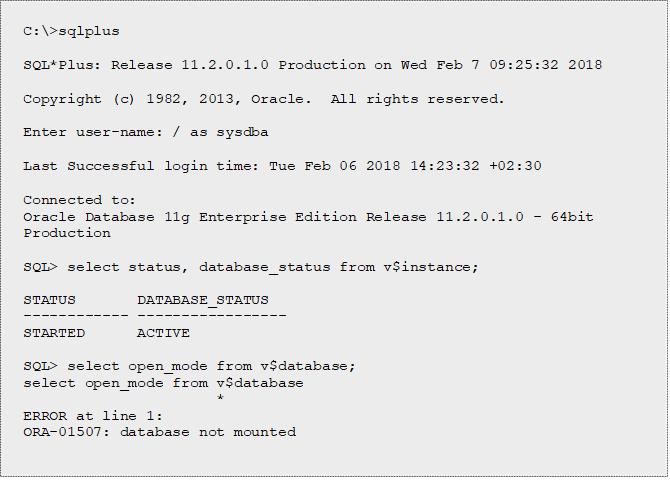 ORA-01033: ORACLE initialization or shutdown in progress - Database Tips