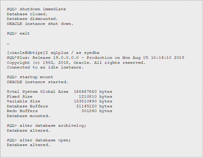 Redo logs, archivelog mode and Connect internal only