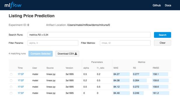 MLflow Tracking UI
