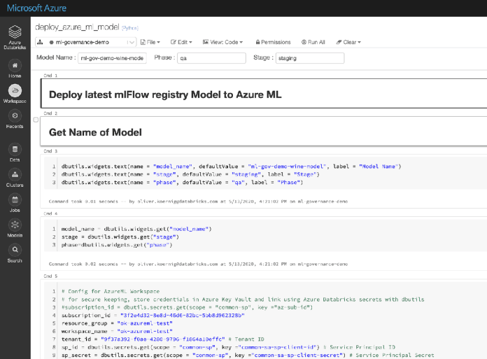 Sample Azure Databricks with code snippet deploying the model in Azure ML using the MLflow libraries.