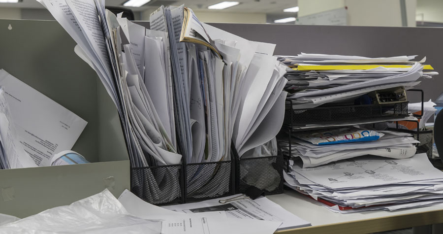 many documents on office and not complete to collected - can use to display or montage on product