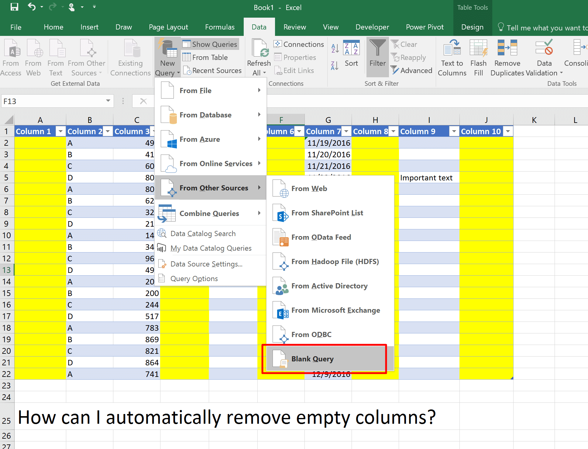 Automatically Remove Empty Columns And Rows From A Table