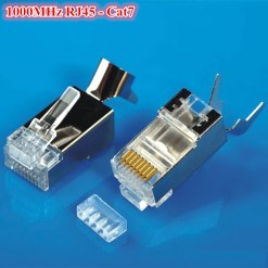 High Performance  RJ45 8P8C CAT7 50 Micron Gold Plated Shielded Clamshell Connector – 25Pcs Pack