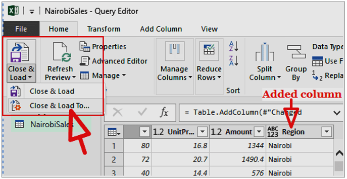 Add a column in query editor