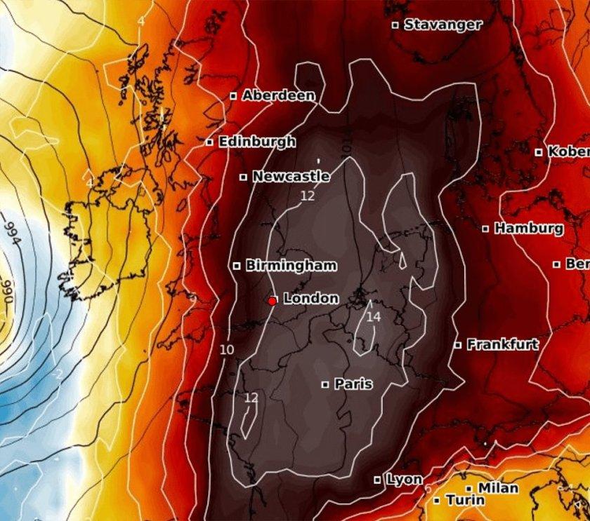 Weerkaart temperaturen Europa - Zwart