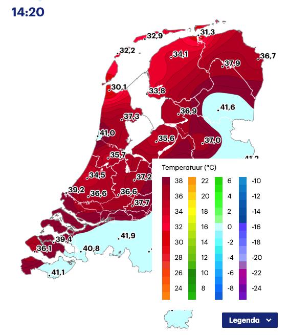 Weerkaart Nederland van Buienradar
