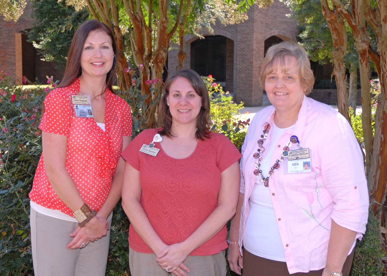 Three vgcc instructors named certified nurse educators home in from left vgcc nursing faculty members anna seaman erica jastrow and camella marcom recently xflitez Images