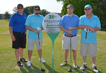 Runners-up in the afternoon round of the 31st Annual Vance-Granville Community College Endowment Fund Golf Tournament on May 5 were the Winston International team, consisting of, from left, Randy Hoyle, Robert Winston, Bryan Rainey and Randy Weary. (VGCC Photo)