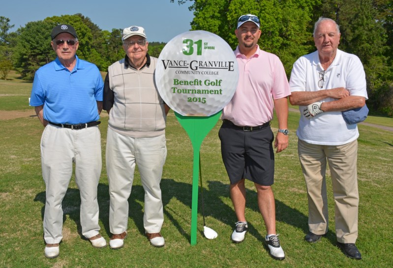 The team of, from left, Buddy Thomas, Donald Seifert, Kenny Abbott and Owen Tharrington won the morning round of the 31st Annual Vance-Granville Community College Endowment Fund Golf Tournament at the Henderson Country Club on May 5. (VGCC Photo)