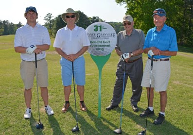 The Rose Oil team of, from left, Tripp Watkins, Chip Watkins, George Watkins and Chick Young placed third in the afternoon round of the 31st Annual Vance-Granville Community College Endowment Fund Golf Tournament at the Henderson Country Club on May 5. (VGCC Photo)