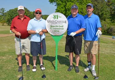 From left, Henry Murray, David Farey, Randy Hoyle and Rob Wallace were the runners-up in the morning round of the 31st Annual Vance-Granville Community College Endowment Fund Golf Tournament at the Henderson Country Club on May 5. (VGCC Photo)