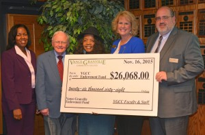 VGCC President Dr. Stelfanie Williams, left, and Board of Trustees Investment Committee chair L. Opie Frazier Jr., second from left, accept a symbolic check for $26,068 from the leaders of the VGCC Endowment Fund Faculty and Staff Drive at the Nov. 16 Board meeting. The drive co-chairs were, starting third from left, School-Age Education program head/instructor Jacquelin Heath, Director of Student Success Amy O'Geary, and Computer Education instructor Steven Sievert. (VGCC photo)