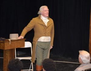 Bill Barker, as Thomas Jefferson, lectures at VGCC. (VGCC photo)