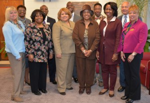 Superintendents and members of the boards of education of the public school systems in the four counties served by Vance-Granville Community College were present for college President Dr. Stelfanie Williams' announcement of the VanGuarantee scholarship program on Monday, March 21. From left, front row, are Darlynn Oxendine, member, Vance Board of Education; Dr. Elizabeth S. Keith, chair, Franklin Board of Education; Gloria J. White, chair, Vance Board of Education; Deborah F. Brown, chair, VGCC Board of Trustees; Dr. Stelfanie Williams; and Dr. Tonya Thomas, director of middle schools and AIG program services, Granville County Schools; back row, Dorothy W. Gooche, member, Vance Board of Education; Dr. Pascal Mubenga, superintendent, Franklin County Schools; Dr. Anthony D. Jackson, superintendent, Vance County Schools; Calvin C. Jones, chair, Warren Board of Education; and Dr. Ray Spain, superintendent, Warren County Schools. (VGCC photo)