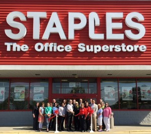 Shown at the Henderson-Vance Chamber of Commerce ribbon cutting for Staples are, Store Manager Stan Wolfenbarger and staff of Staples; Mayor Eddie Ellington; HVCC President John Barnes; HVCC Board Chair Larry Mathiot, CenturyLink; HVCC Board Member Brian Boyd, Charles Boyd Chevrolet-Cadillac-Buick-GMC, Inc.; HVCC Board Member Hal Mutzel, Express Employment; HVCC Board Member Susan Rogers, Chick-fil-A;  Chamber Ambassador Kevin Bullock, WIZS 1450 AM; Chamber Ambassador Clareese Moss, Shortcakes; Office Manager Jenny Hester, PRIM Development & Rentals; Director of Marketing McKinley Perkinson, Maria Parham Medical Center; Diane Robbins & Stephanie Ranes, The Daily Dispatch; HVCC Director of Communications Sheri Jones; HVCC Work First Coordinator Vanessa Jones; HVCC Office Manager Melanie Mann. Not Pictured:; HVCC Director of Membership Services, Annette Roberson.