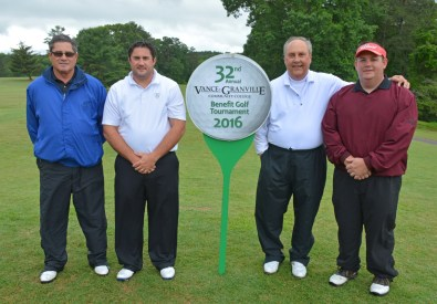The team of, from left, David Thomas, Blair Thomas, Hal Finch and Kyle Holtzman won the morning round of the 32nd Annual Vance-Granville Community College Endowment Fund Golf Tournament at the Henderson Country Club on May 23. (VGCC Photo)