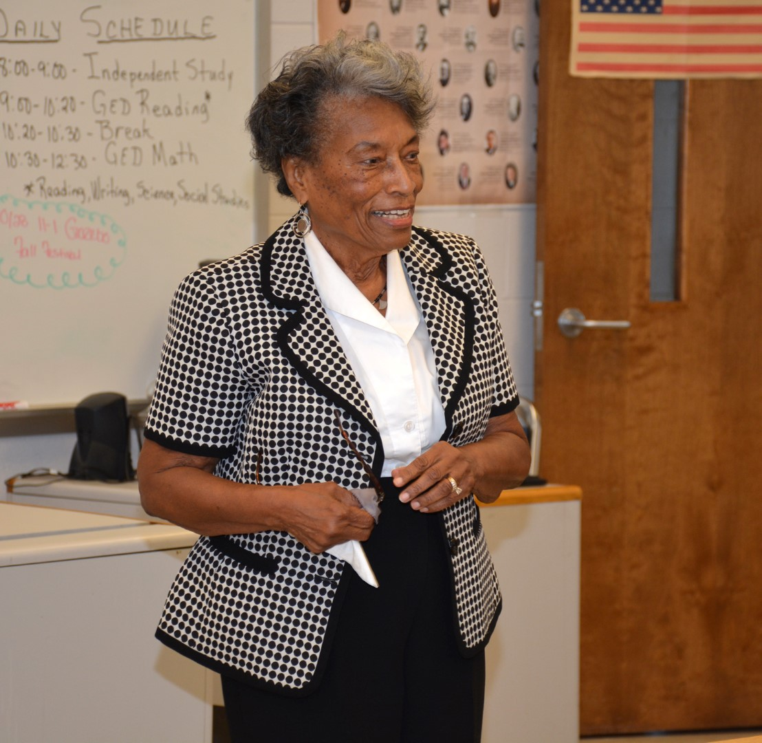 Eva Clayton speaks to students at VGCC about her career. (VGCC photo)