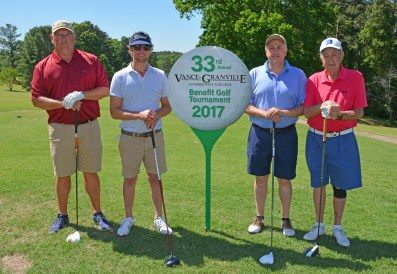 """The Union Bank team, including, from left, Carlston Harris, Andrew Byrd, John Burns and Gene Edmundson won """"first net"""" in the afternoon round of the 33rd Annual Vance-Granville Community College Endowment Fund Golf Tournament at the Henderson Country Club. (VGCC Photo)"""
