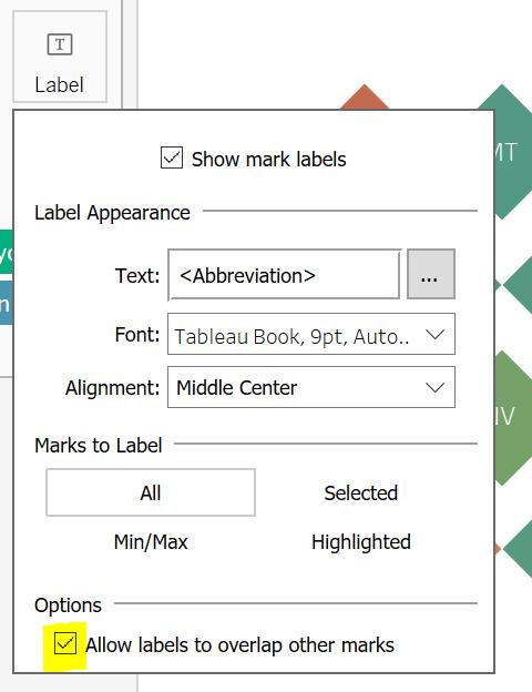 Tableau Label Option