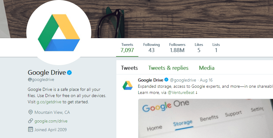 Google Drive on Twitter