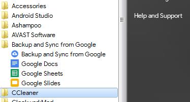 Google Drive Start Menu