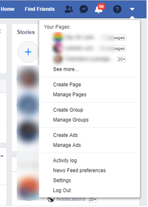Facebook Option Dropdown Menu