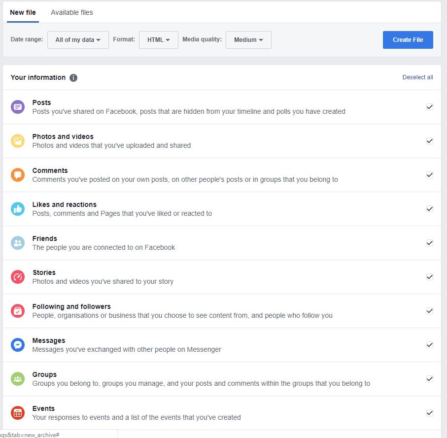 Facebook information Category