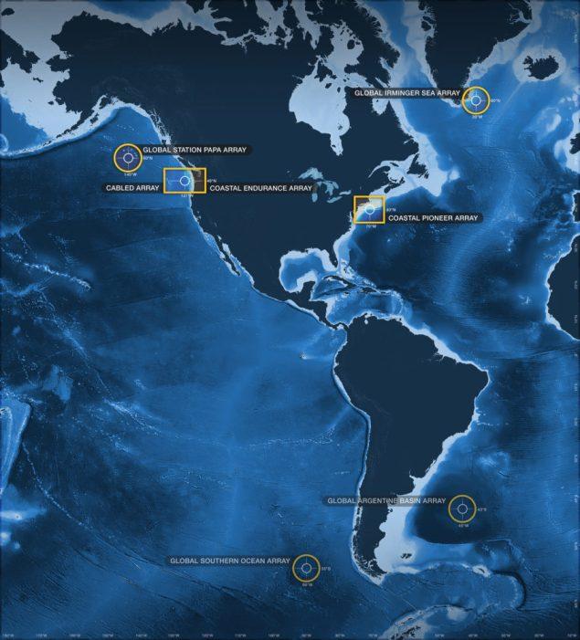 Map of OOI Arrays