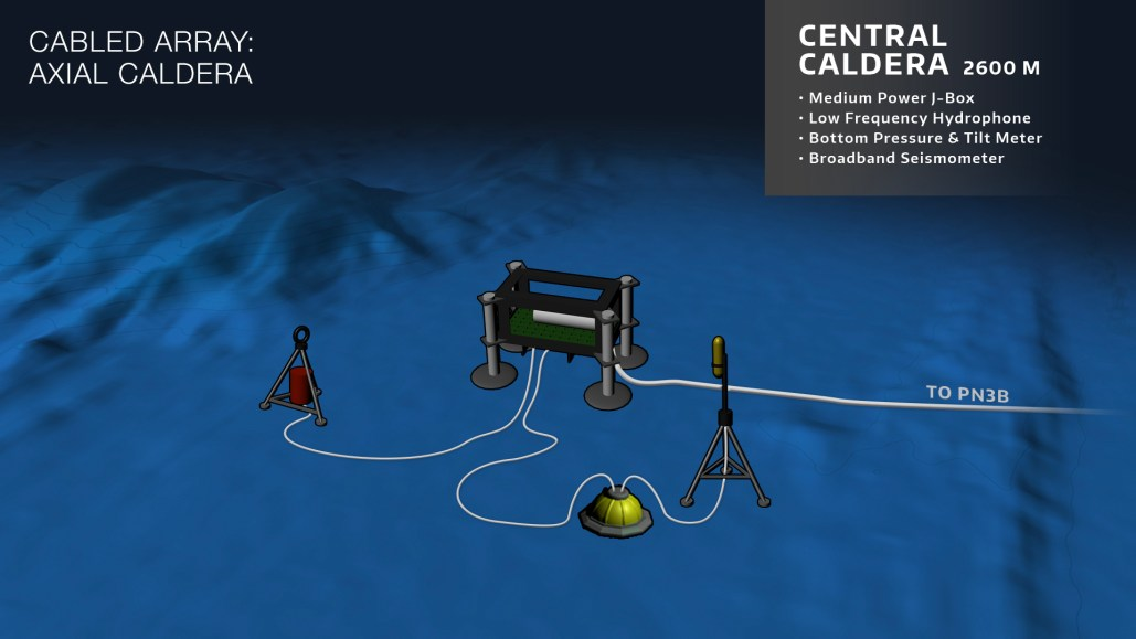 Schematic of the configuration of instruments and Medium-Power Junction Box at the Central Caldera site on the Axial Seamount. Credit: OOI Cabled Array program & the Center for Environmental Visualization, University of Washington