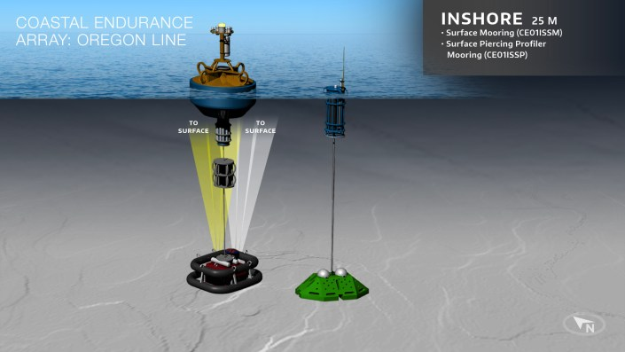 Schematic of the configuration of moorings at the Inshore site on the Endurance Array Oregon Line. Credit: OOI Cabled Array program & the Center for Environmental Visualization, University of Washington