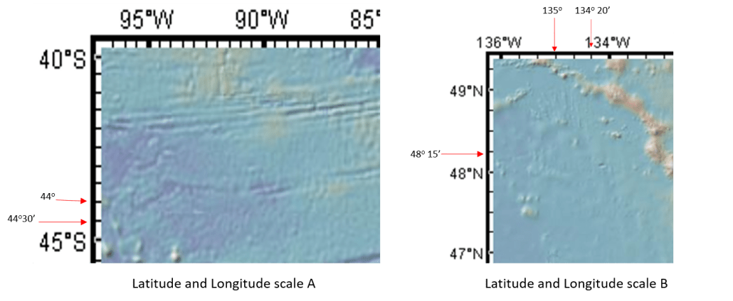 Two maps with different lat/long scales