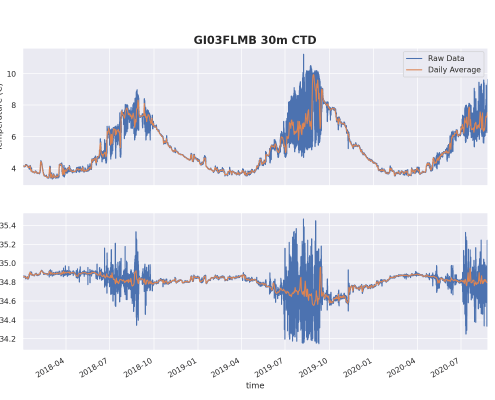 2 years of temperature and salinity data from 30m at Irminger Sea Flanking Mooring B showing the annual cycle.